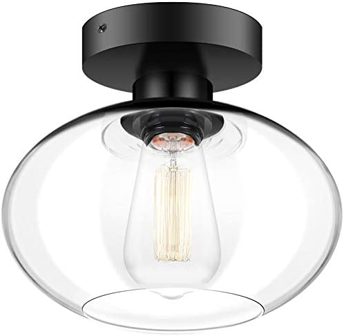 Industrial Semi Flush Mount Ceiling Light, 750 Lumen LED Bulb Included, Clear Glass Shade Ceiling Light Fixture, Farmhouse Light fixtures for Hallway Bedroom Cafe Bar Corridor Porch Passway