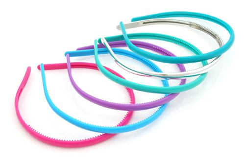Zest Haarreif-Set, 1cm breit, Pink/Blau/Grün/silberfarben etc., 6Stück