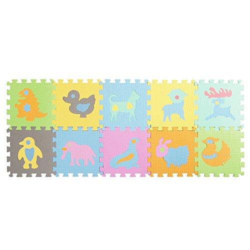 Enjoygous 10PCS Kids EVA Foam Interlocking Puzzle Exercise Play Mat Floor Tiles Pad Playmat for Baby Toddlers - Animal/Alphabet/Number/Fruit, 12'' by 12'' (Animal) by Enjoygous