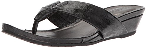 - Kenneth Cole REACTION Women's Date Low Wedge Thong Sandal Satin, Black, 5 Medium US