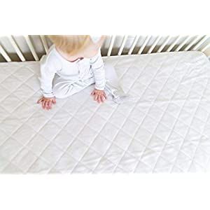"Ultra Soft Crib Mattress Protector Pad by Margaux & May – Waterproof – Noiseless – Dryer Friendly – Deluxe Bamboo Rayon – Fitted, Quilted – Stain Protection Baby Cover (Standard Size 52"" x 28"")"