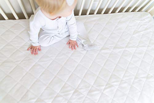 "Crib Mattress Protector Pad by Margaux & May - Waterproof, Ultra Soft - Dryer Friendly - Deluxe Bamboo Rayon - Fitted Quilted Pad - Absorbent Stain Protection Baby Cover (Standard Size 52"" x 28"")"