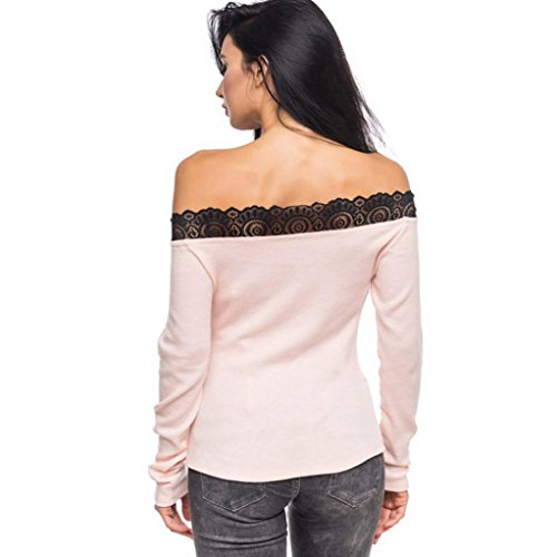 Malloom longues Casual Sweat manches Femme Tops Blouse Rose znzUv1Zx