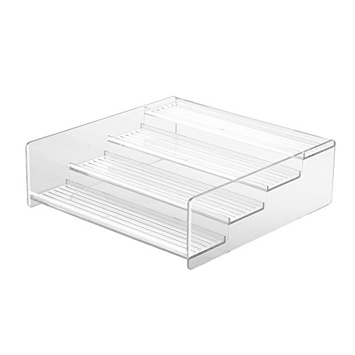 (InterDesign Linus Cabinet Organizer Rack – 4-Tiered Storage for Kitchen, Pantry or Bathroom Countertops, Clear)
