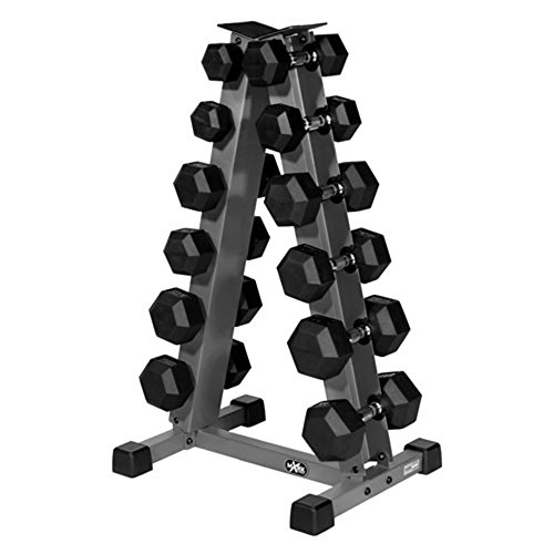 Rack Up The Savings With the XMark A-Frame Vertical Dumbbell Rack and A 5 lb. to 30 lb. Set of XMark Premium Quality Coated Hex Dumbbells by XMark Fitness