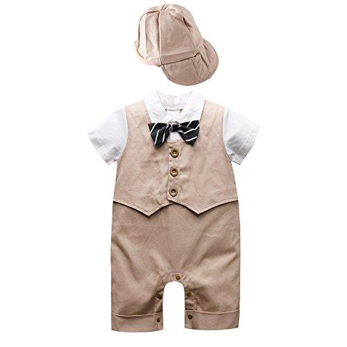Baby Boy Short Sleeve Gentleman Romper 1pcs Toddler Outfit Clothing Set Jumpsuit With Hat (95cm(18-24Month), Khaki)