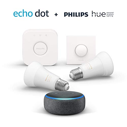 Echo Dot (3.ª generación), tela de color antracita + Philips Hue White and Color Starter Kit con 2 bombillas, Bluetooth…