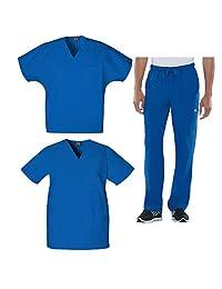 Cherokee Workwear Men's V-Neck Tops and Drawstring Pant 3 Piece Scrub Set