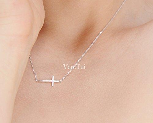 Sideways Necklace Cross - Simple Sideways Silver Cross Necklace