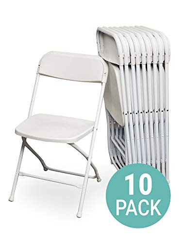(EventStable TitanPRO Plastic Folding Chair - White, 10-Pack)