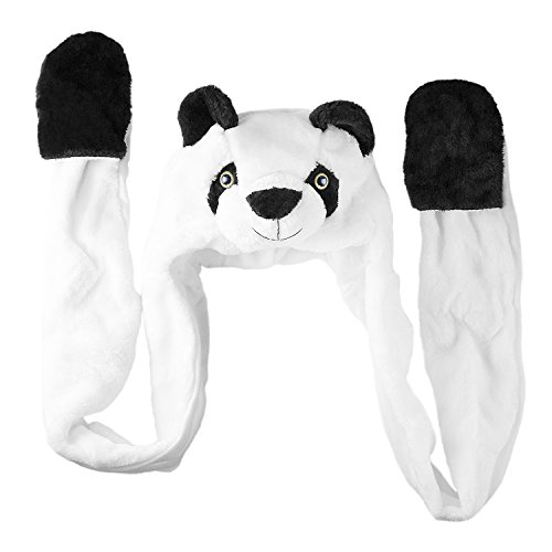 Snow Yeti Costume (Panda Bear Plush Animal Winter Ski Hat Beanie Aviator Style Winter (Long))