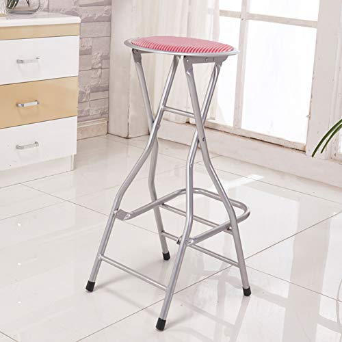 (Barstools with Back, Folding Chair, Metal Pub Chair, Counter Bar Stool Studio Chair for Bar Home-red D31xh66cm(12x26inch))