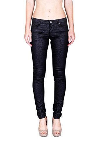 VIRGIN ONLY Women's Skinny pants with wave print-28-Black for sale  Delivered anywhere in USA