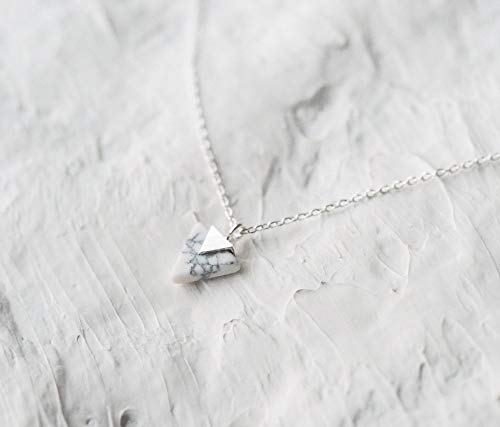 Silver Plated Chevron Triangle Geometric Marble Pattern Necklace