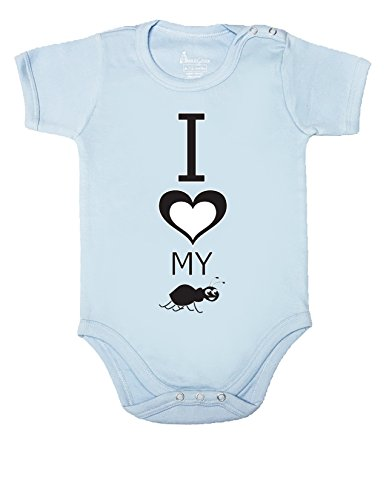 83 BABY ROMPER SHORT SLEEVE ONESIE UNISEX I LOVE MY AUNT GIFT BAGGED A&G (12-18 Months, Light Blue)