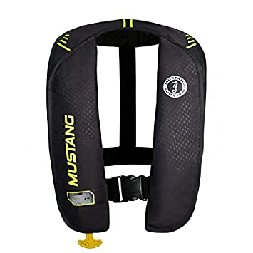 Image result for Mustang Survival Corp M.I.T. 100 Auto Activation PFD, Black/Fluorescent Yellow Green