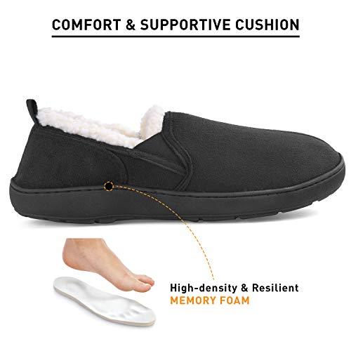 691c873d02e5 Men s Comfort Memory Foam Micro Suede Moccasin Slippers Winter Warm  Wool-Like Plush Fleece Lined