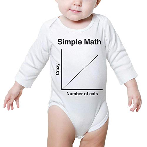 Simple Math Number of Cats Baby Onesies White Clothing Long Sleeve Jumpsuits Cotton Funny -