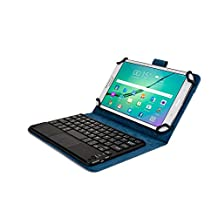 Kobo Arc 7, Arc 7 HD keyboard case, COOPER TOUCHPAD EXECUTIVE 2-in-1 Wireless Bluetooth Keyboard Mouse Leather Travel Cases Cover Holder Folio Portfolio + Stand Kobo Arc 7 HD, Arc 7 (Blue)