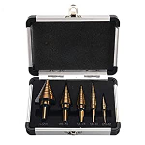OCGIG 5 Pcs 50 Tamaños HSS Taladro Espiral Paso Broca/Taladro Pagoda/Taladro Escalera con Caja de Aluminio