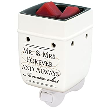 Mr & Mrs Ceramic Stoneware Electric Plug-in Outlet Wax and Oil Warmer