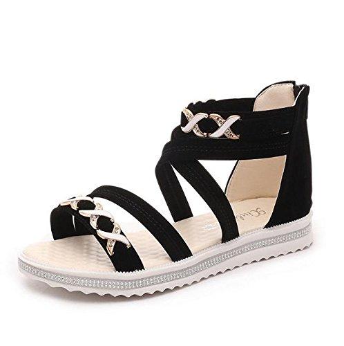 sandalias de punta abierta correas cruzadas mujeres planas de los zapatos con los zapatos planos de estudiantes salvaje Black