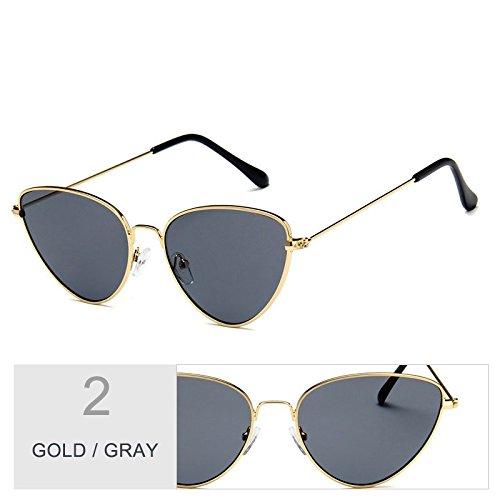 marco de mujeres gafas de para de UV400 de con GOLD oro Vintage gris GRAY metal hombres gafas sol mujeres TL Ojo Sunglasses Gato qWtAW8O