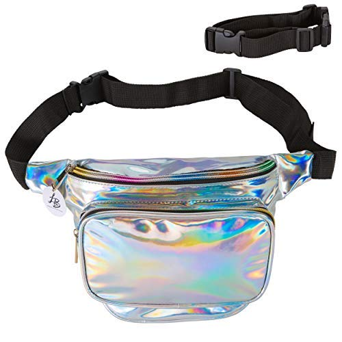 Lucky Boutique Holographic Fanny Pack, Belt Bag for Women | Adjustable Supreme Waist Bag, Phanny Pack for Kids, Adults, Silver | Great for Hiking, Travel, Festival, Rave, -