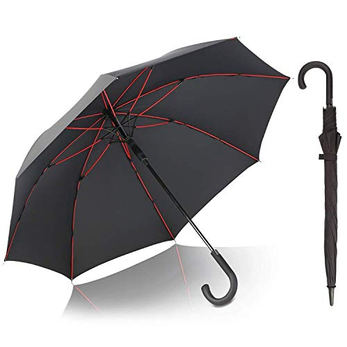 G4Free Classic Golf Umbrella Windproof Large 52 Inch Stick Umbrellas Hook Handle Automatic Open Cane Umbrella for Men Women(Black)