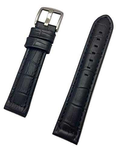 - 22mm Long, Black Panerai Style Genuine Leather Watch Band | Square Alligator Crocodile Grain, Medium Padded Replacement Wrist Strap Bracelet That Brings New Life to Any Watch (Mens Long Length)