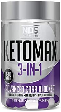 NDS Nutrition Keto-Max Advanced 3-in-1 - Keto Pills for Women Fat Loss Support Carb Blocker Appetite Suppressant - White Kidney Bean, Chitosan, Raspberry Ketones, and Vanadium (90 Capsules) 1