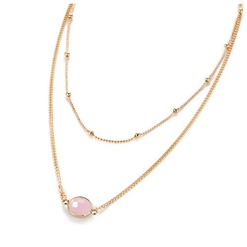 - Anqifull Dainty Layered Gold Chocker Handmade Beads Fill Heart White Opal Necklace for Women Girls 014