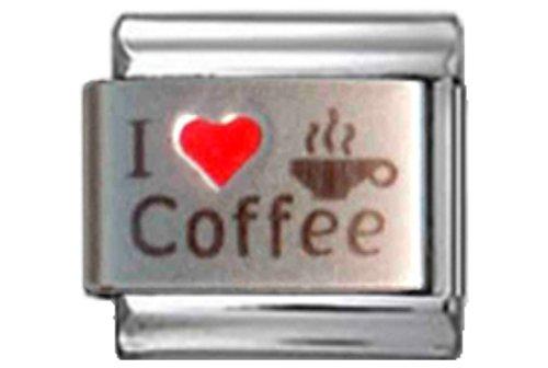 Stylysh Charms Coffee I Love Coffee RH Laser Italian 9mm Link FO025 -