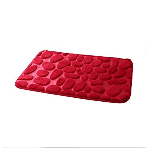 Carpets bedroom door mats kitchen and bathroom water-absorbing mat at the door -4060cm Wine Red by ZYZX