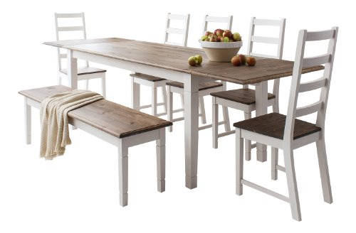 Table And 5 Chairs Bench Canterbury Extending Dining With 2x Extension Amazoncouk Kitchen Home
