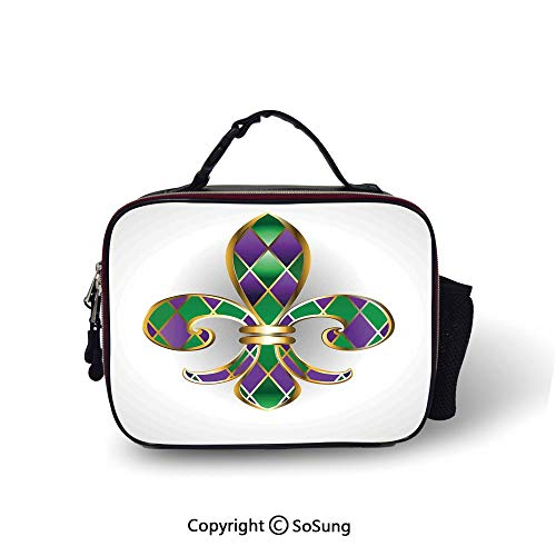 (Fleur De Lis Decor Insulated Lunch Bag Gold Colored Lily Symbol With Diamond Shapes Royalty Theme Ancient Art Printed lunch bag for boys and girls,10.6x8.3x3.5 inch,Gold Purple Green)