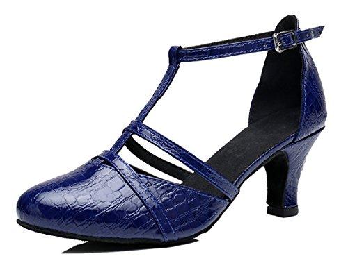 Tda Da Donna Classico T-strap Tacco Medio Sintetico Tango Sala Da Ballo Salsa Di Danza Latino Scarpe Da Sposa 6cm Tacco Blu