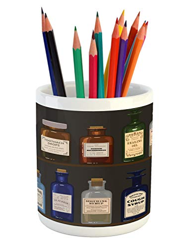 "Lunarable Apothecary Pencil Pen Holder, Antique Pharmaceutical Shelves of Colorful Medicine Bottles Drawing, Ceramic Pencil Holder for Desk Office Accessory, 3.6"" X 3.2"", Dark Taupe Multicolor"
