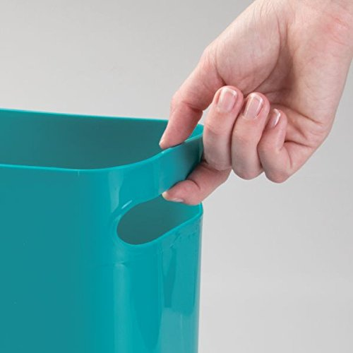 Mdesign plastic wastebasket trash can for bathroom office for Teal bathroom bin