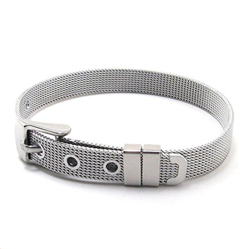 TEMEGO Jewelry Mens Womens Stainless Steel Bracelet,Classic Wrist Cuff Bnagle,Silver