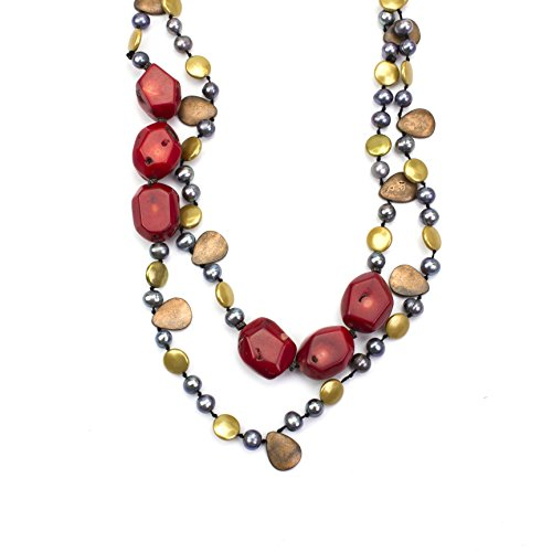 (LookLove Womens Jewelry Genuine Red Turquoise Necklace 36