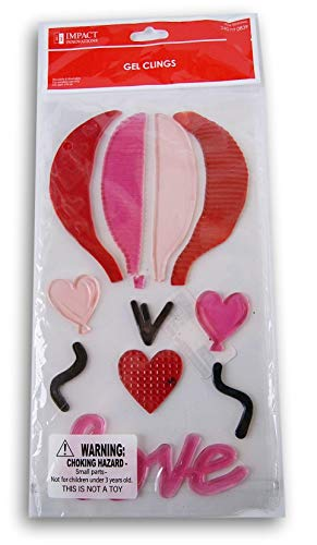 Holiday Valentine's Day Hot Air Balloon Gel Window Clings - 11 ()