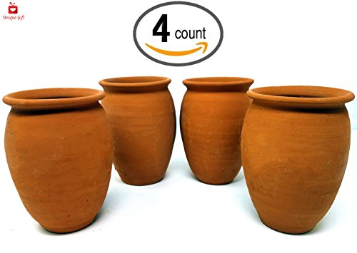 NEW Alondra's Imports (TM) Elegantly Handcrafted, Clay Cups From Mexico (Cantaritos De Barro Mexicanos - Cantaritos Para Fiesta Mexicana - Artesanias De Mexico) - Complete Set of 4