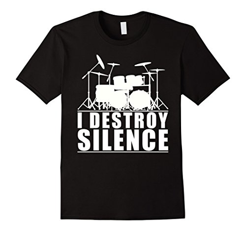 Mens I Destroy Silence Drums T-Shirt Large Black (Mens Drum)