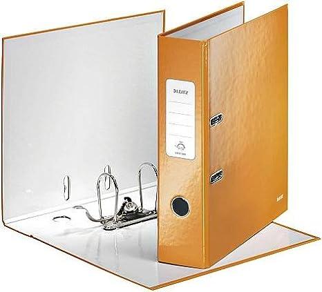 Leitz - Juego de 5 archivadores de palanca 180 ° Plastificado WOW ancho de 80 mm naranja: Amazon.es: Oficina y papelería