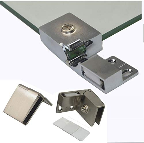 1 Pair/Frameless Glass Door Hinge Wine Cabinet Cabinet Display Cabinet Embedded Side Mounted Glass Door Hinge Brushed Nickel