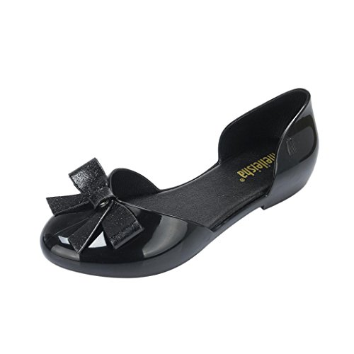 Shoes hunpta Black Crystal Sandals Shoes Women Casual Round Toe Fashion Bow UBT8UP