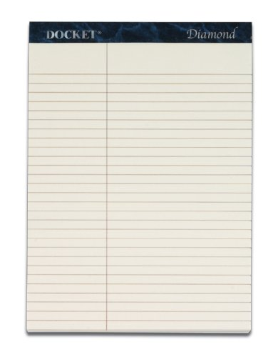 TOPS Docket Diamond 100% Recycled Premium Stationery Tablet, 8-1/2 x 11-3/4 Inches, Perforated, Ivory, Law Rule, 50 Sheets per Pad, 2 Pads per Pack (63983) ()