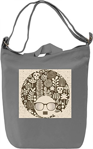 Afro Hairstyle Borsa Giornaliera Canvas Canvas Day Bag| 100% Premium Cotton Canvas| DTG Printing|