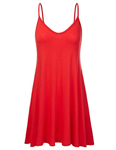 NINEXIS Women's Basic Spaghetti Strap Cami Tank Tunic Dress RED S ()